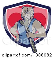 Clipart Of A Cartoon Bulldog Man Mechanic Holding A Wrench And Emerging From A Blue White And Red Shield Royalty Free Vector Illustration by patrimonio