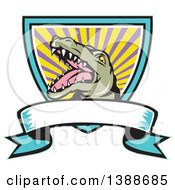 Clipart Of A Cartoon Snapping Alligator In A Shield With Rays And A Blank Ribbon Banner Royalty Free Vector Illustration