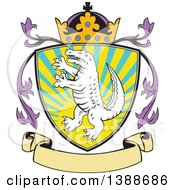 Clipart Of A Retro Alligator Or Crocodile Coat Of Arms Shield With A Crown And Blank Banner Royalty Free Vector Illustration by patrimonio