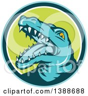 Clipart Of A Retro Snapping Alligator Or Crocodile In A Blue Teal White And Green Circle Royalty Free Vector Illustration