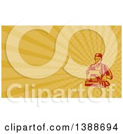 Retro Red Woodcut Male Tailor Operating A Sewing Machine And Orange Rays Background Or Business Card Design