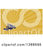 Retro Yellow And Blue Woodcut Cement Truck And Orange Rays Background Or Business Card Design