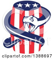 Clipart Of A Retro Viper Snake Coiled Around An American Stars And Stripes Beer Keg Royalty Free Vector Illustration