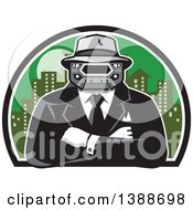 Clipart Of A Retro Tough Mobster With A Car Grill Head And Folded Arms Against A City Royalty Free Vector Illustration