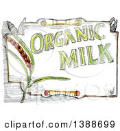 Clipart Of A Retro Sketched Organic Milk Label Royalty Free Vector Illustration