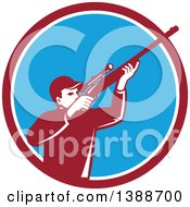 Retro Hunter Aiming A Shotgun In A Maroon White And Blue Circle