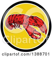 Retro Red Lobster In A Black White And Yellow Circle
