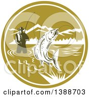 Clipart Of A Retro Woodcut Fly Fisherman Reeling In A Trout Fish And Wading In A Lake Inside A Green And White Circle Royalty Free Vector Illustration