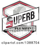 Clipart Of A Superb Plumbing Banner With A Monkey Wrench Over A Shield Royalty Free Vector Illustration
