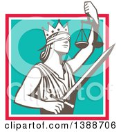 Clipart Of A Retro Lady Justice Wearing A Crown Holding A Sword And Scales In A Square Royalty Free Vector Illustration by patrimonio