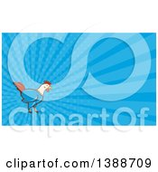 Clipart Of A Retro Cartoon Rooster And Blue Rays Background Or Business Card Design Royalty Free Illustration