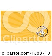 Clipart Of A Retro Cartoon White Male Mechanic Carrying A Giant Spanner Wrench Over His Shoulder And Yellow Rays Background Or Business Card Design Royalty Free Illustration