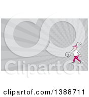 Clipart Of A Retro Cartoon White Male Mechanic Carrying A Giant Spanner Wrench Over His Shoulder And Gray Rays Background Or Business Card Design Royalty Free Illustration