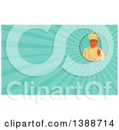 Clipart Of A Retro Wpa Styled Chef With A Mustache Giving A Thumb Up And Turquoise Rays Background Or Business Card Design Royalty Free Illustration