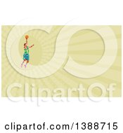 Clipart Of A Retro Low Poly White Male Basketball Player Doing A Layup And Green Rays Background Or Business Card Design Royalty Free Illustration