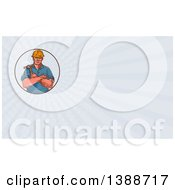 Retro Sketched Male Builder Holding A Hammer And Rays Background Or Business Card Design