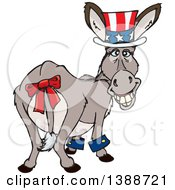 Clipart Of A Patriotic Independence Day Or Tax Time Donkey Looking Back Royalty Free Vector Illustration by Dennis Holmes Designs