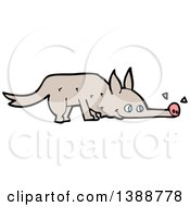 Clipart Of A Cartoon Wolf Sniffing Royalty Free Vector Illustration