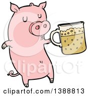 Clipart Of A Cartoon Pink Pig Holding A Beer Royalty Free Vector Illustration by lineartestpilot