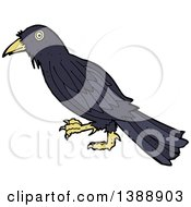 Clipart Of A Cartoon Crow Bird Royalty Free Vector Illustration