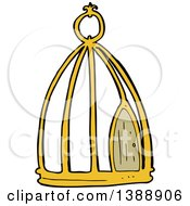 Clipart Of A Cartoon Bird Cage Royalty Free Vector Illustration