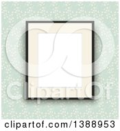 Clipart Of A Blank Picture Frame Hanging Over Green Floral Vintage Wallpaper Royalty Free Vector Illustration