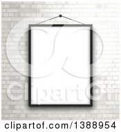 Clipart Of A Black Picture Frame Hanging Over A White Brick Wall Royalty Free Vector Illustration by KJ Pargeter