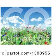 Clipart Of A 3d Grassy Spring Hill With Wild Flowers Under A Blue Sky With Puffy Clouds Royalty Free Illustration