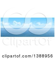 Clipart Of A Widescreen 3d Panoramic View Of The Ocean Under Blue Sky With Puffy Clouds Royalty Free Illustration