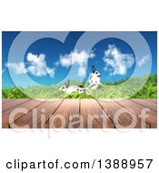 Clipart Of A 3d Deck Against A Spring Landscape With Two Rabbits In Grass Royalty Free Illustration