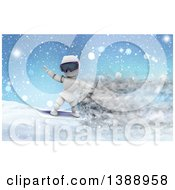 Clipart Of A 3d White Character Snowboarding With Speed Effect Royalty Free Illustration
