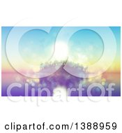 Clipart Of A 3d Tropical Island With Palm Trees Against A Sunset Blurred With Flares Royalty Free Illustration