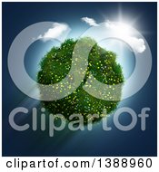 Clipart Of A 3d Grassy Planet With Daisy And Buttercup Flowers With A Sunny Sky Royalty Free Illustration