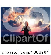 Clipart Of A 3d Fit Silhouetted Woman Doing Yoga Against An Ocean Sunset Royalty Free Illustration