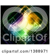 Clipart Of A Background Of Colorful Neon Squares Over Black Royalty Free Illustration