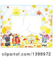Clipart Of A Horizontal Border Frame Of Children Going Back To School In The Fall Royalty Free Vector Illustration
