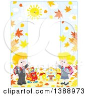 Clipart Of A Vertical Border Frame Of Children Going Back To School In The Fall Royalty Free Vector Illustration