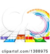 Clipart Of A Background Of Colorful Tiles And Circles With Text Space Royalty Free Vector Illustration