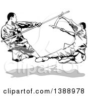 Clipart Of Black And White Kung Fu Fighters And A Gray Shadow Royalty Free Vector Illustration