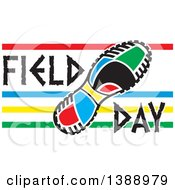 Clipart Of A Colorful Sneaker Sole With Field Day Text And Stripes Royalty Free Vector Illustration by Johnny Sajem