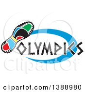 Clipart Of A Colorful Sneaker Sole With Olympics Text And A Blue Oval Royalty Free Vector Illustration by Johnny Sajem