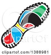 Clipart Of A Colorful Olympic Field Day Sneaker Sole Royalty Free Vector Illustration by Johnny Sajem