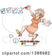 Clipart Of A Happy White Business Woman On A Roll Getting It Done And Checking Off Her To Do List Royalty Free Vector Illustration