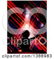 Clipart Of A Silhouetted Female DJ Holding Her Arm Up In The Air Wearing Headphones And Mixing A Record Over Crossed Stripes Royalty Free Vector Illustration