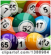 Clipart Of A Background Of 3d Colorful Bingo Or Lottery Balls Royalty Free Vector Illustration