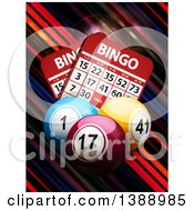 3d Bingo Balls And Cards Over Colorful Diagonal Stripes