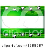 Clipart Of A Background Of 3d Soccer Balls And Green Around Text Space Royalty Free Vector Illustration