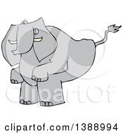 Cartoon Elephant Squatting To Poop