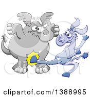 Clipart Of A Cartoon Political Democratic Donkey Kicking A Republican Elephant In The Balls Royalty Free Vector Illustration