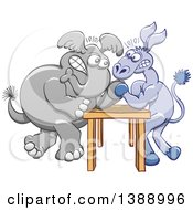 Clipart Of A Cartoon Political Democratic Donkey And Republican Elephant Arm Wrestling Royalty Free Vector Illustration